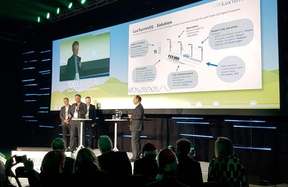 The joint presentation by Markku Heino, Spinverse, Juha Salmelin, Nokia, Anssi Savisalo, Sitowise and Ilkka Ritakallio, Teleste highlighted the crucial elements of the LuxTurrim5G concept and intensive multi-disciplinary cooperation.
